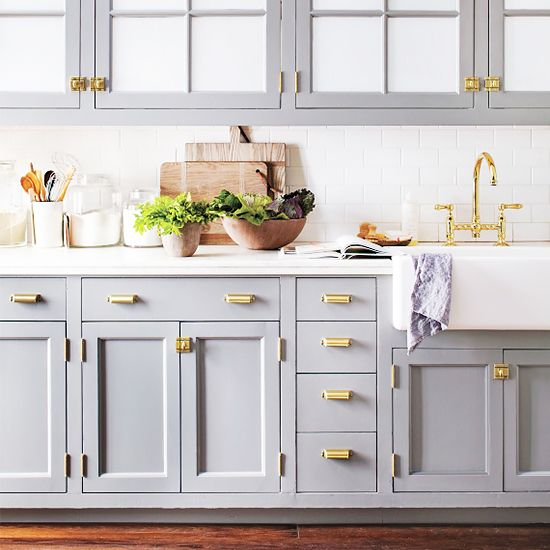 Having a Moment: Blue-Grey Kitchen Cabinets