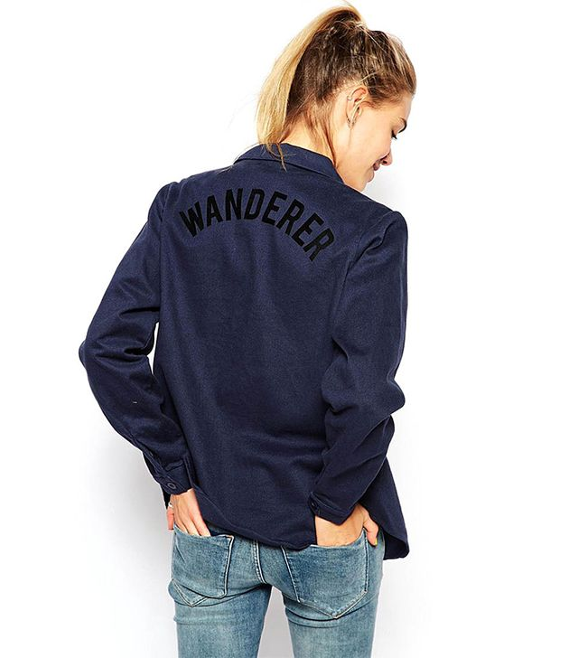 Afends Denim Shirt With Wanderer Back Slogan