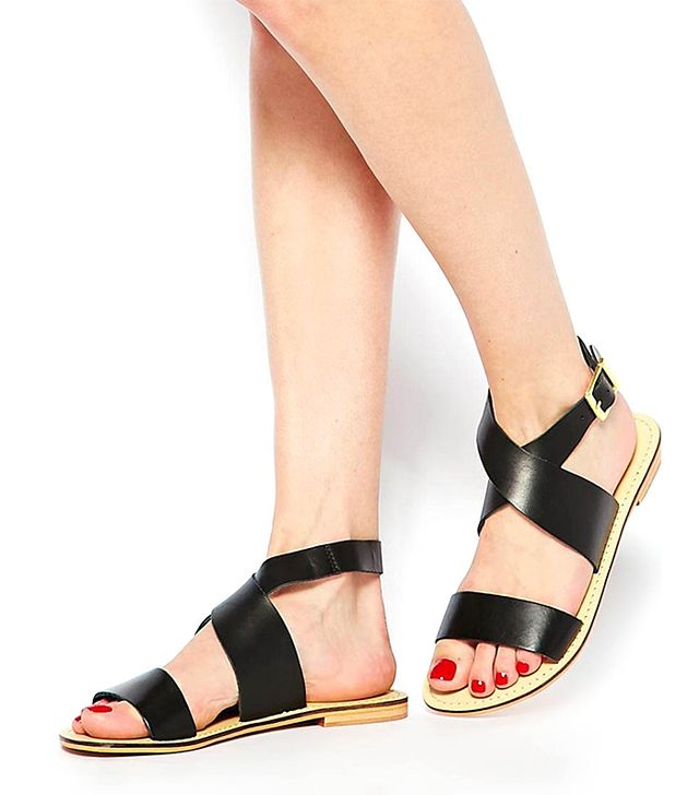 ASOS Foster Leather Flat Sandals in Black