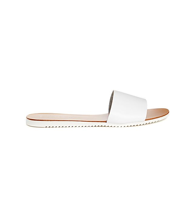 New Look Fool Pool Leather White Simple Slider Flat Sandals