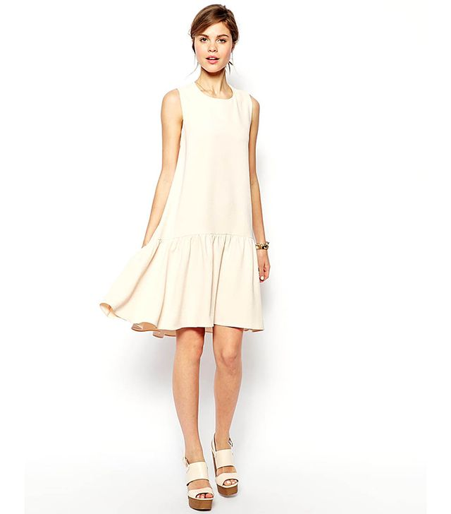 ASOS Swing Dress In Texture With Dipped Hem
