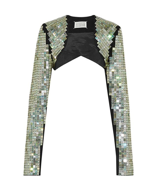 Maison Martin Margiela Cropped Embellished Wool-Blend Jacket