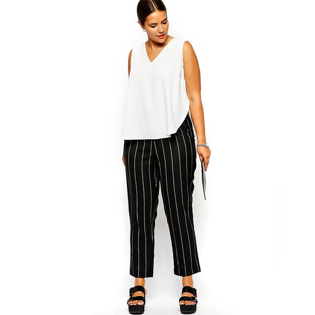 ASOS Curve Exclusive Peg Pant In Pinstripe