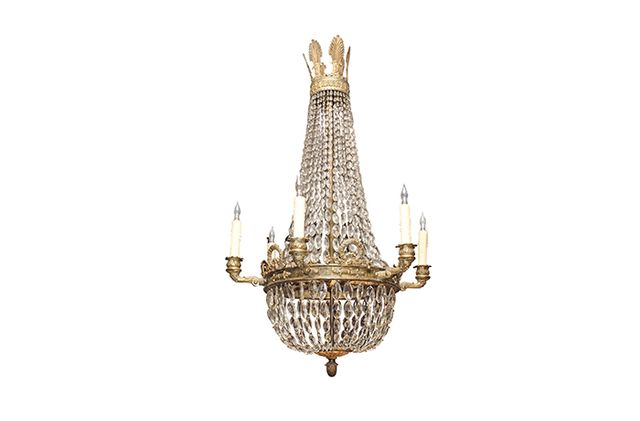 Kevin Stone Antiques & Interiors Bronze and Crystal 6-Arm Empire Chandelier