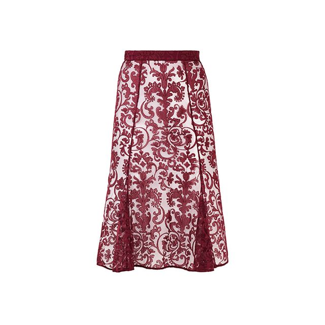 Burberry Prorsum Flare-Front Embroidered Lace Skirt