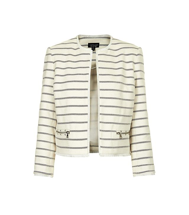 Topshop Striped Cropped Jacket
