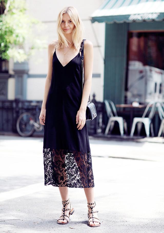 Outfit Idea 1: Lace Slip Dress + Sandals