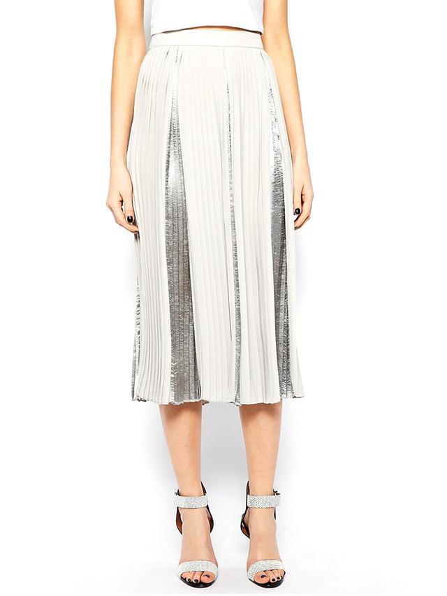 ASOS Premium Pleated Midi Skirt with Metallic Inserts