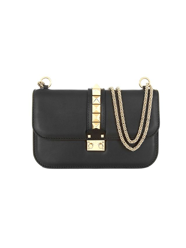 Valentino Glam Lock Medium Leather Shoulder Bag