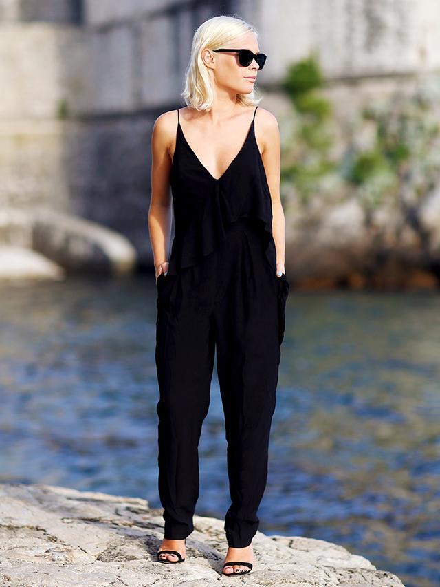 Outfit Idea 4: Sleek Jumpsuit + Strappy Heels