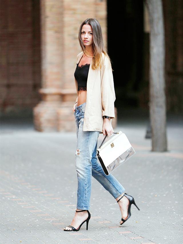 Outfit Idea 7: Lace Crop Top + Kimono Jacket + Boyfriend Jeans