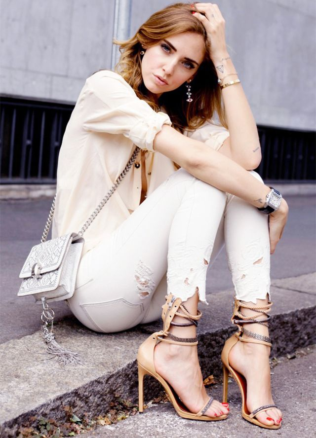 Outfit Idea 8: Silky Button-Down Shirt + Destroyed Jeans + Strappy Sandals