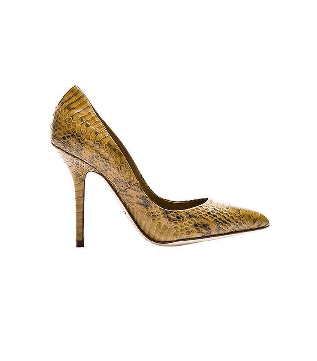 Dolce & Gabbana Ochre Snakeskin Pointed Pumps