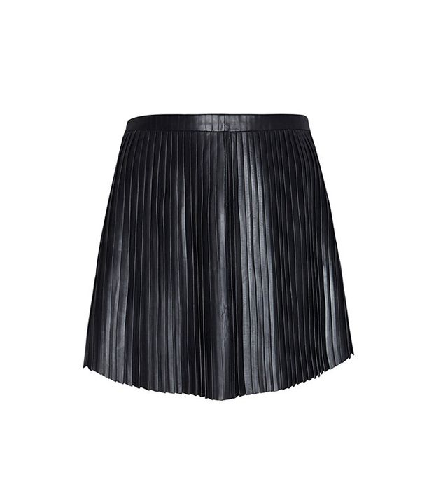 Exclusive for Intermix Pleated Leather Mini Skirt in Black