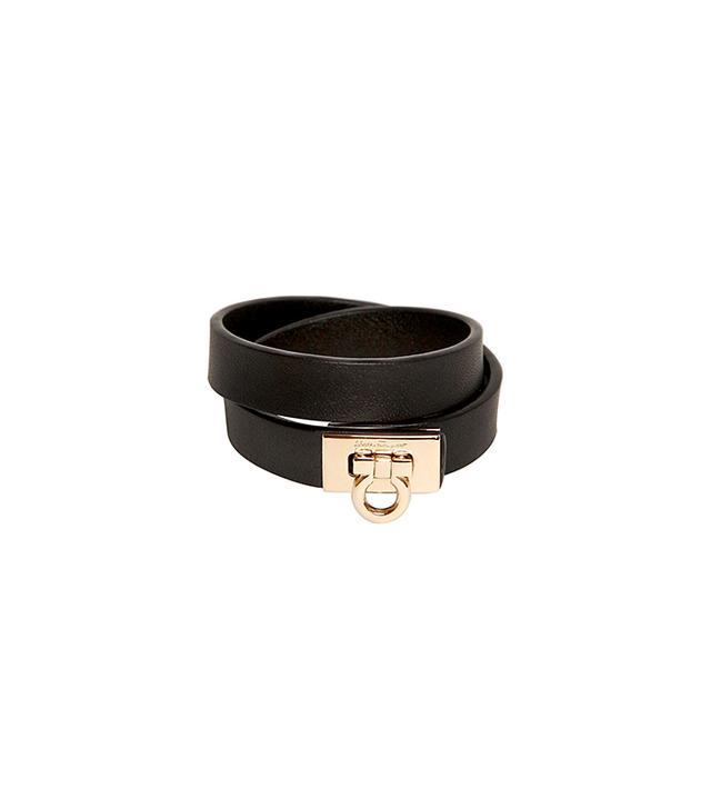 Salvatore Ferragamo Double Wrap Leather Bracelet