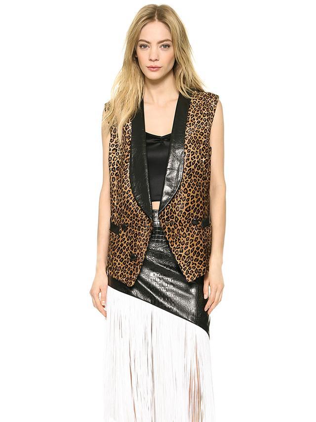 Rodarte Leopard Print Haircalf Vest in Leopard