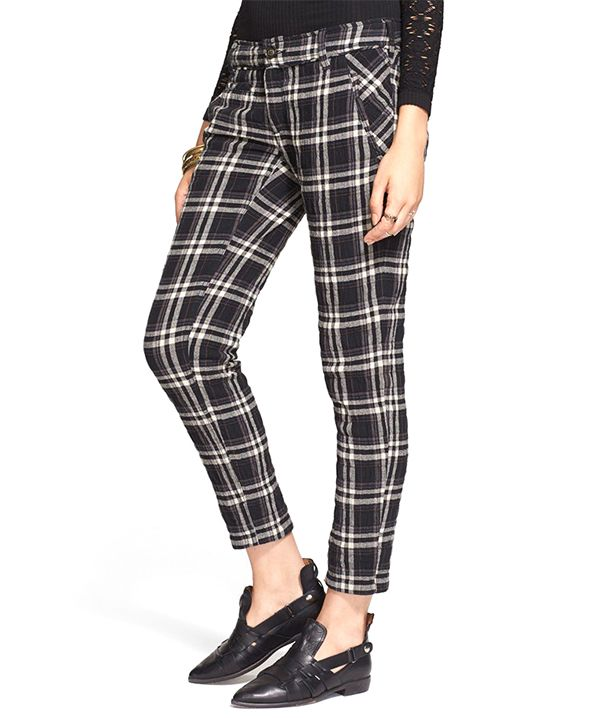 Free People Plaid Ankle Trousers