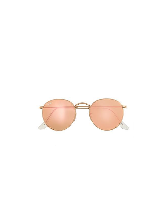 Ray-Ban Retro Round Sunglasses With Flash Lenses