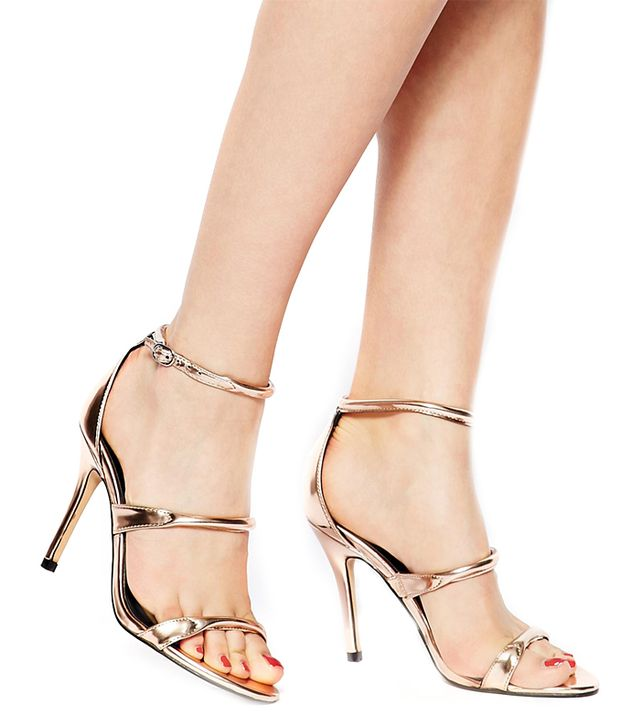 Aldo Margetts Metallic Triple Strap Heeled Sandals