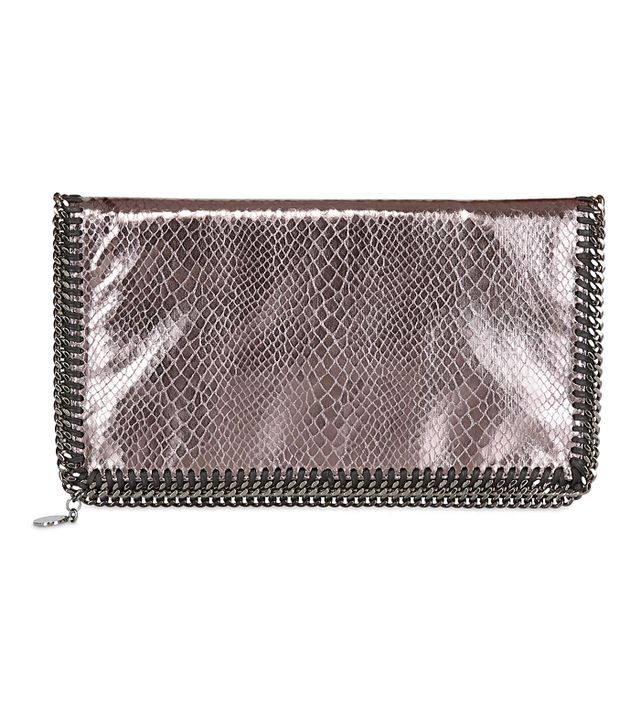 Stella McCartney Metallic Snake Foldover Clutch