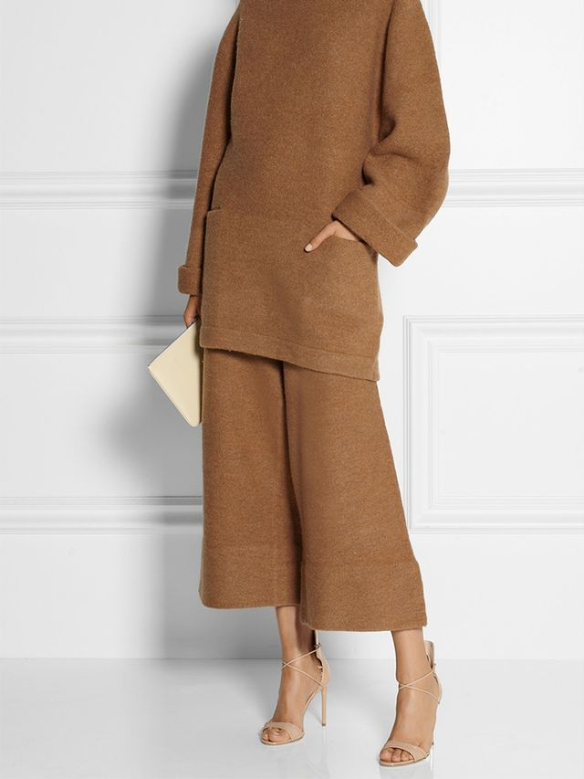 Acne Studios Depend Cropped Boiled Wool Wide-Leg Pants