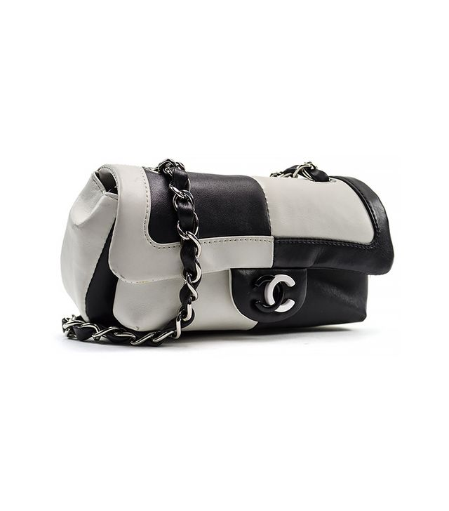 Chanel Black/White Colorblocked Flap Bag