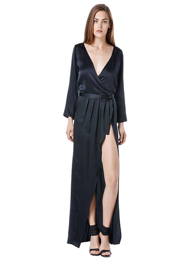 Again Collection Bianca Bell Sleeve Silk Dress