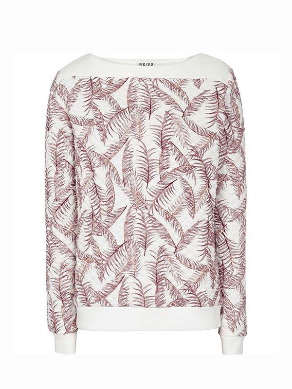 Reiss Quilted Palm-Print Jumper