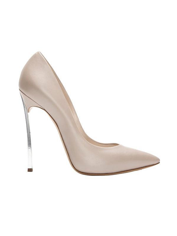 Casadei Silver Metal Stiletto Heel Pumps