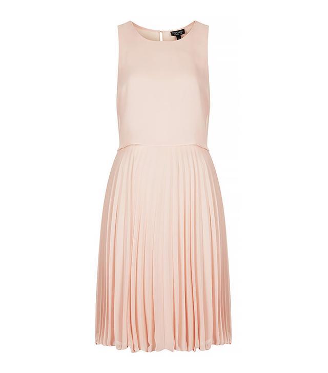 Topshop Midi Pleat Overlay Dress