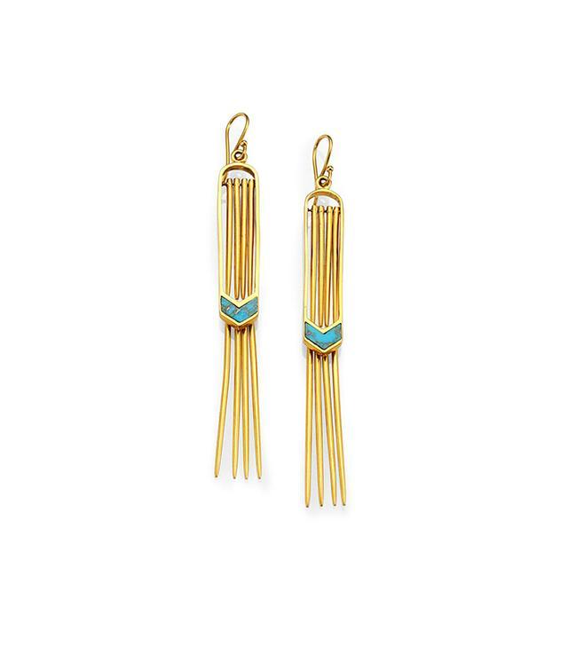 A Peace Treaty Vala Turquoise Double Fringe Earrings