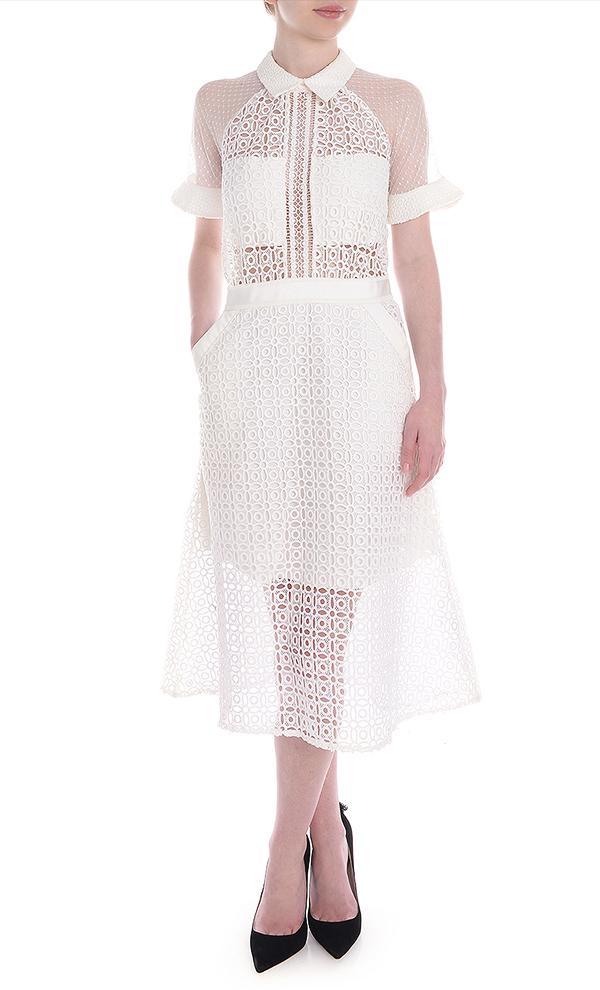 Pattern Play Lace Midi Dress