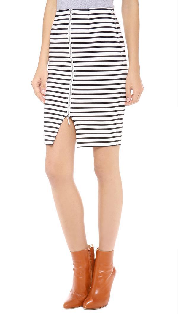 Nicholas Stripe Zip Pencil Skirt