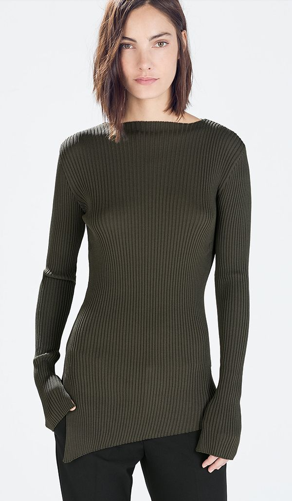 Zara Ribbed Boatneck Sweater