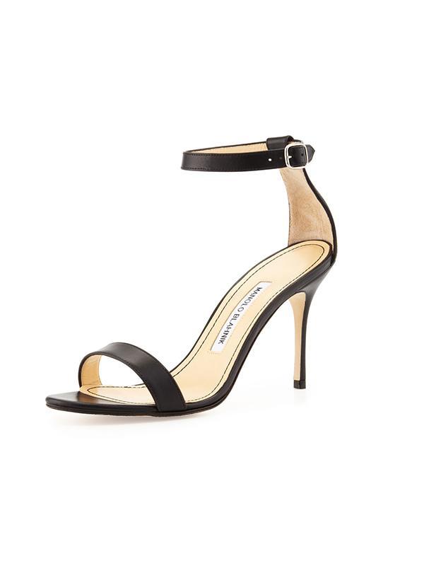 Manolo Blahnik Chaos Leather Ankle-Wrap Sandals