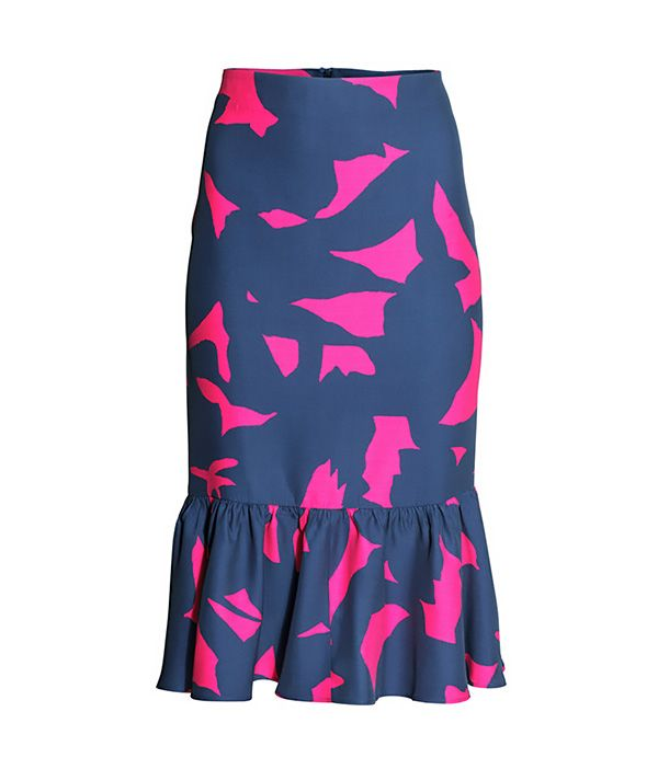 H&M Patterned Ruffled Skirt