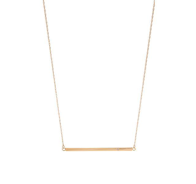 Jennifer Zeuner Jewellery Horizontal Bar Necklace with Diamond