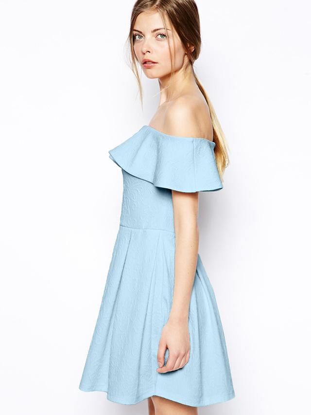 ASOS Texture Ruffle Bardot Skater Dress