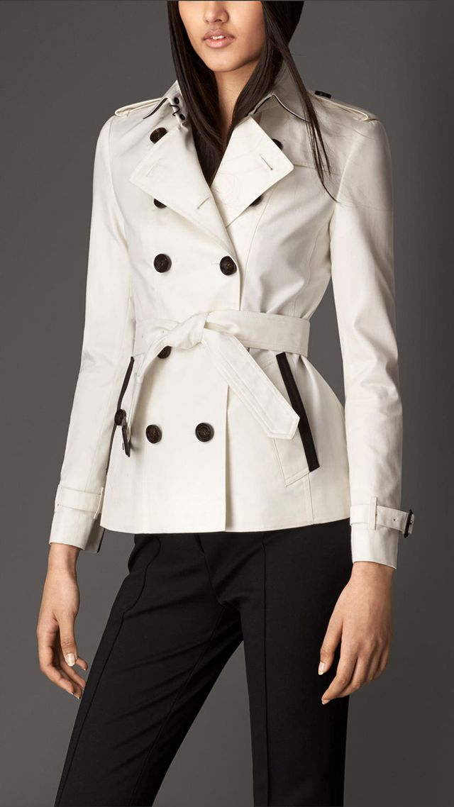 Burberry London Cotton Gabardine Trench Jacket With Contrast Tape Detail