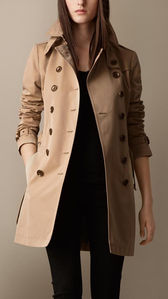 Burberry Brit Mid-Length Cotton Poplin Trench Coat