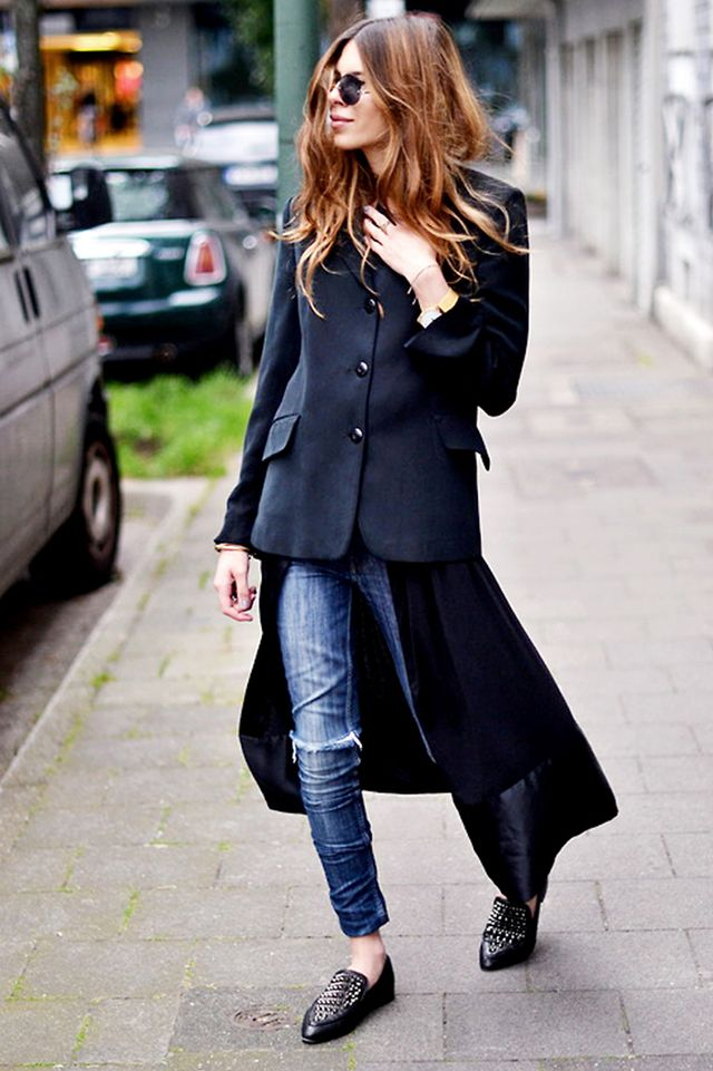 Day 2: Come up with one cool-weather outfit that incorporates unexpected layering.