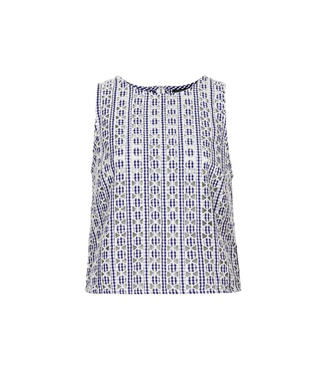 Topshop Cut-Out Gingham Shell Top