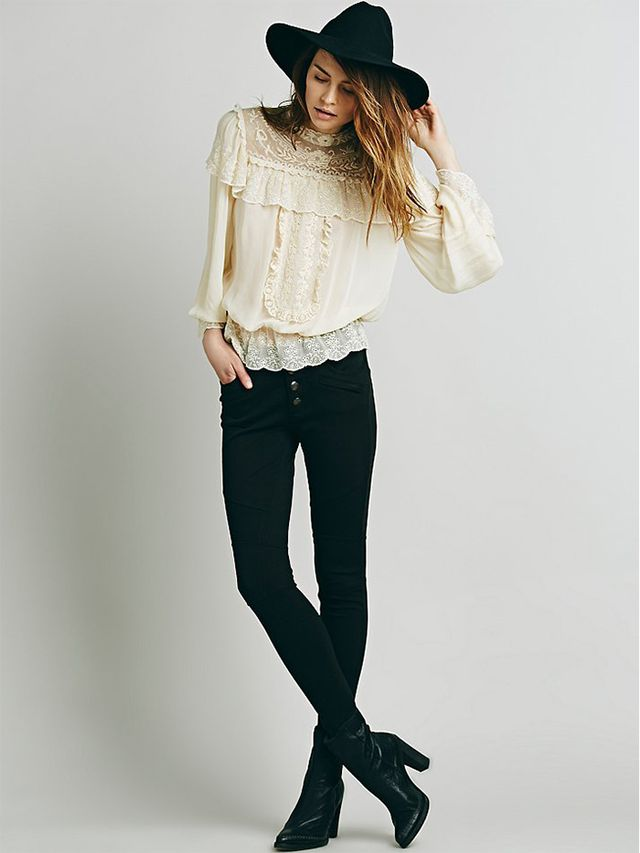 Free People Embroidered Victorian Ruffle Top