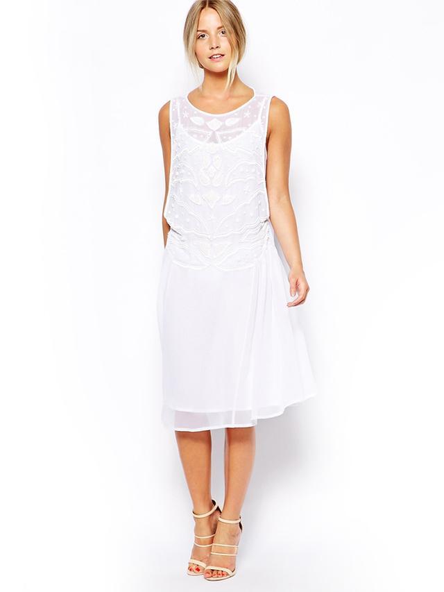 ASOS Petite Exclusive Embellished Midi Smock Dress