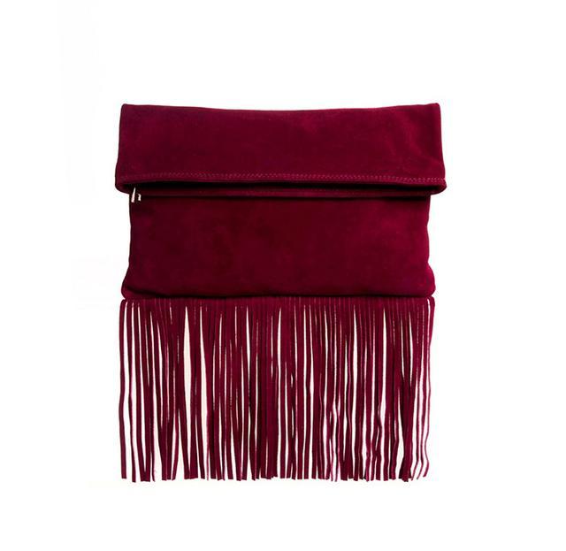 ASOS Suede Foldover Fringe Clutch Bag