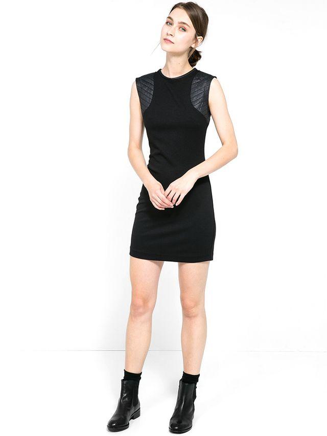 Mango Quilted Shoulders Dress