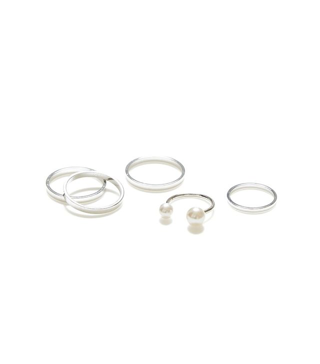Jewelíq Silver Double Pearl Ring and Midi Ring Set