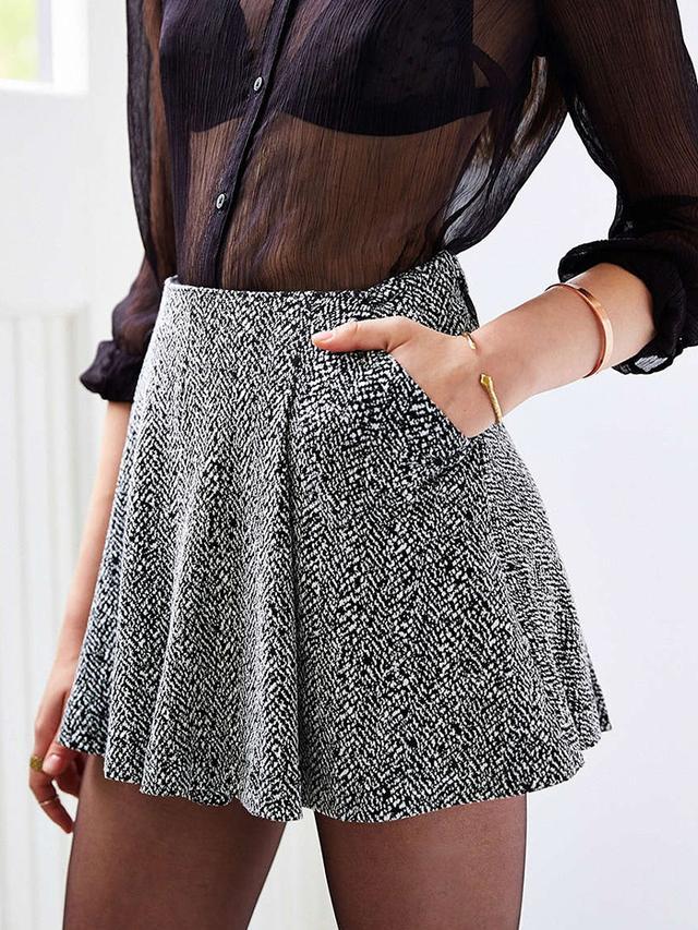 Silence + Noise Twiggy Menswear Pleated Mini Skirt