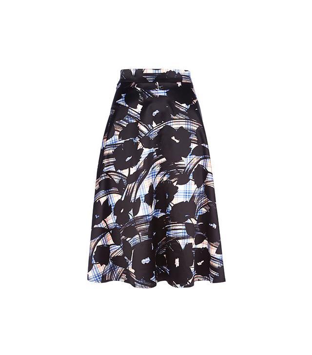 River Island Blue Check Floral Print Midi Skirt