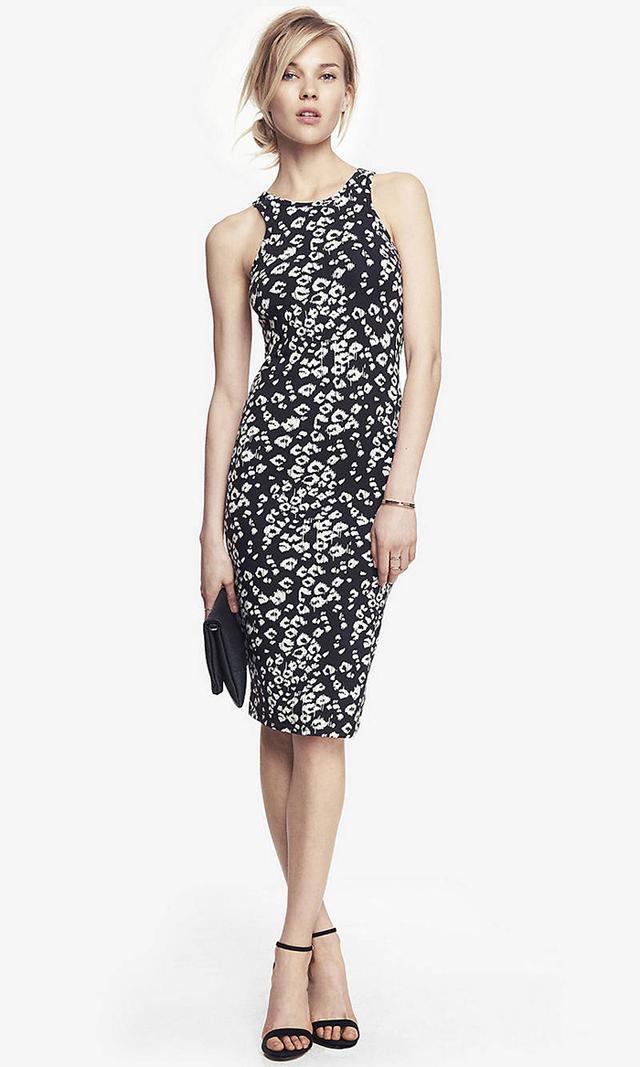 Express Leopard Print Midi Dress